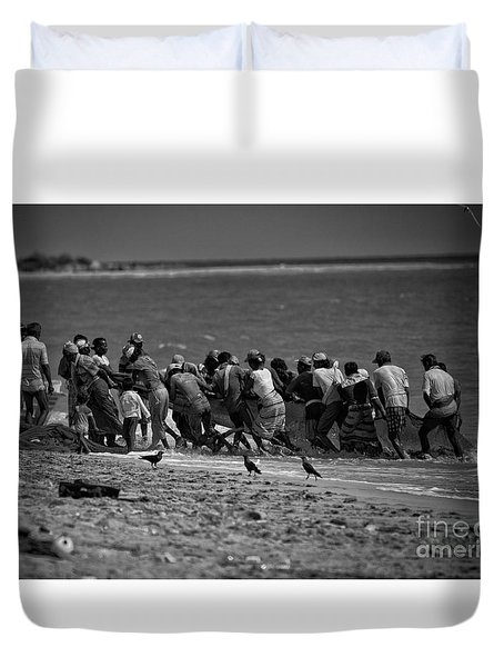 Sri Lankan Fishermen Duvet Cover