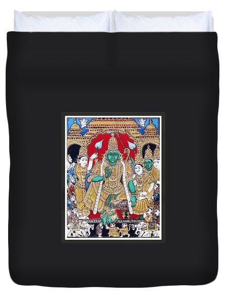 Duvet Cover featuring the painting Sri Ramar Pattabhishekam by Ragunath Venkatraman
