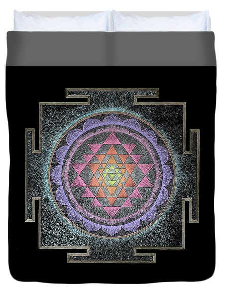 Duvet Cover featuring the painting Sri Yantra by Keiko Katsuta