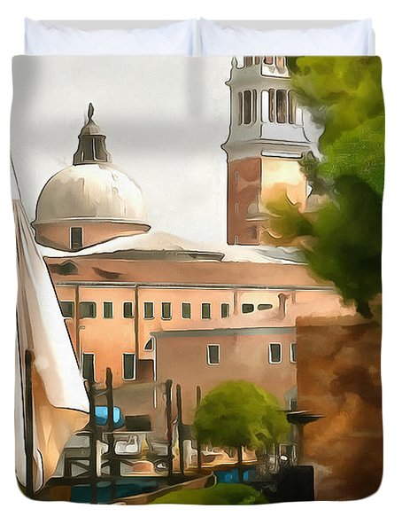 Duvet Cover featuring the painting Ss Giorgio Maggiore From Giudecca by Jack Torcello