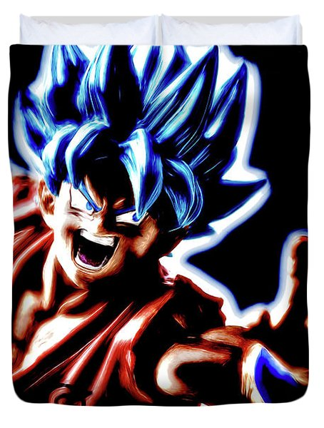 Duvet Cover featuring the digital art Ssjg Goku by Ray Shiu