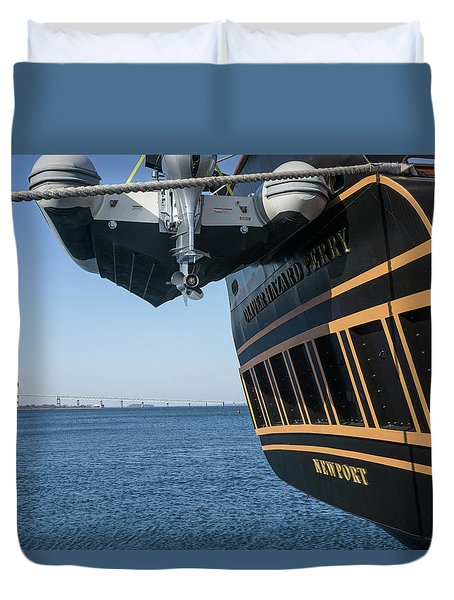 Duvet Cover featuring the photograph Ssv Oliver Hazard Perry Close Up by Nancy De Flon