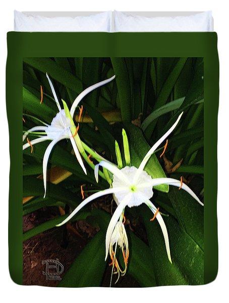 St. A S Spider Flower Couple Duvet Cover by Daniel Hebard