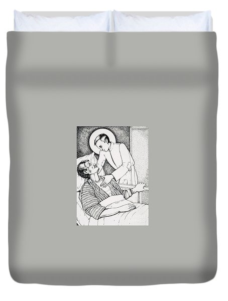 Duvet Cover featuring the drawing St Aloysius Gonzaga- Patron Of People With Hiv-aids And Caregivers 1987 by William Hart McNichols