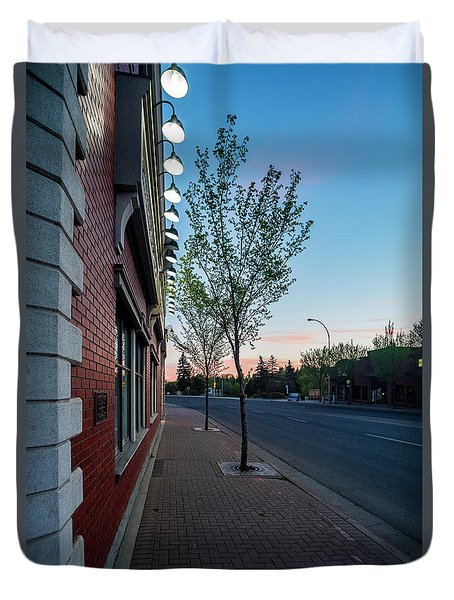 Duvet Cover featuring the photograph St. Anne Street At Dusk by Darcy Michaelchuk