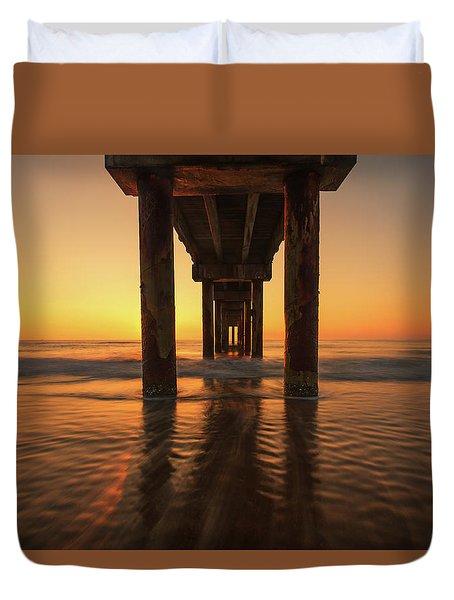 St Augustine Beach Pier Morning Light Duvet Cover