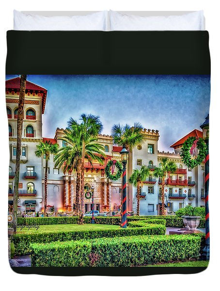 St. Augustine Downtown Christmas Duvet Cover