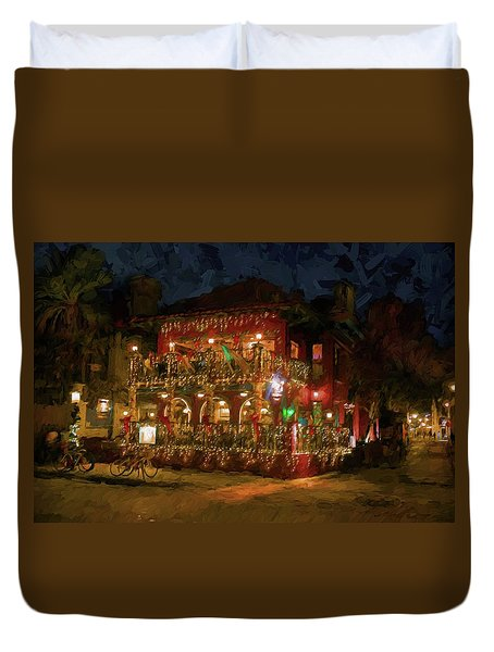 Duvet Cover featuring the photograph  St. Augustine Meehan's Pub by Louis Ferreira