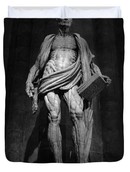 St. Bartholomew In Milan Cathedral By Marco D'agrate In Black And White Duvet Cover by Gregory Dyer