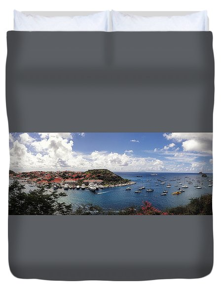Duvet Cover featuring the photograph St. Barths Harbor At Gustavia, St. Barthelemy by Lars Lentz