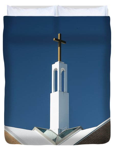 Duvet Cover featuring the photograph St Benedicts Church Rooftop by Gary Slawsky