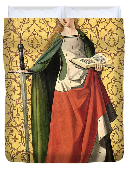 St. Catherine Of Alexandria Duvet Cover by Josse Lieferinxe