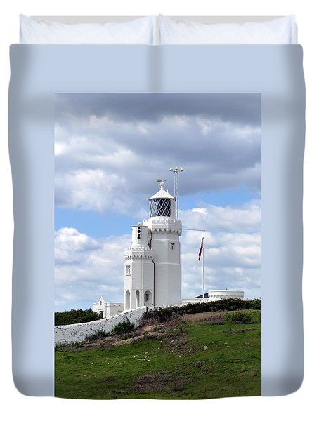 Duvet Cover featuring the photograph St. Catherine's Lighthouse On The Isle Of Wight by Carla Parris