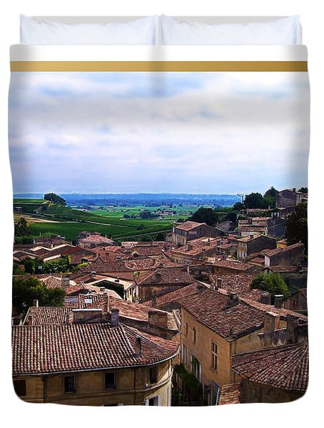 Duvet Cover featuring the photograph St. Emilion View by Joan  Minchak