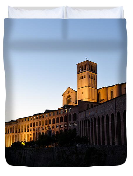 St Francis Assisi At Sundown Duvet Cover by Jon Berghoff