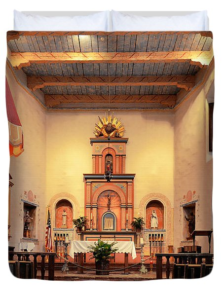 Duvet Cover featuring the photograph St Francis Chapel At Mission San Diego by Christine Till