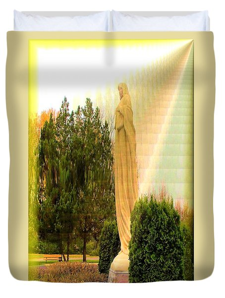 Duvet Cover featuring the photograph St. Francis In The Light by Carolyn Repka