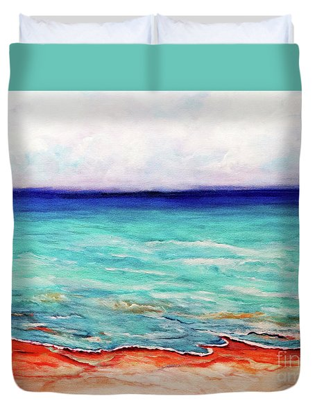 Duvet Cover featuring the painting St. George Island Breeze by Ecinja Art Works