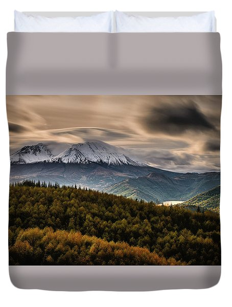 Duvet Cover featuring the photograph St. Helens Wrath by Dan Mihai
