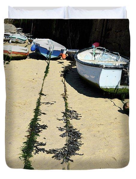St Ives Harbour Boats Duvet Cover