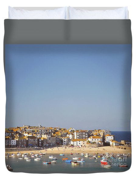Duvet Cover featuring the photograph St Ives Harbour by Lyn Randle