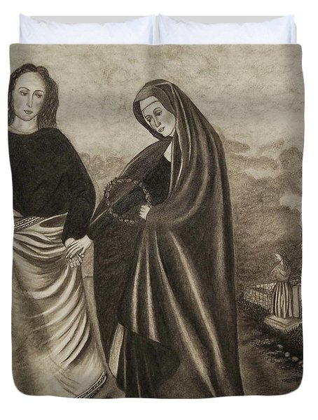 St. John And Blessed Mother At The Tomb Duvet Cover
