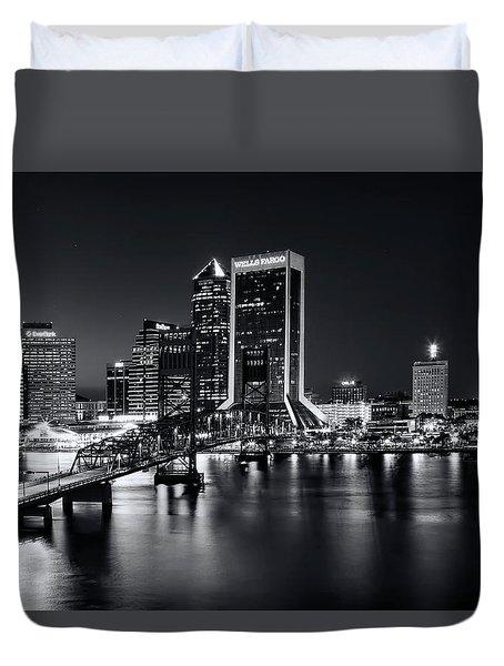 St Johns River Skyline By Night, Jacksonville, Florida In Black And White Duvet Cover
