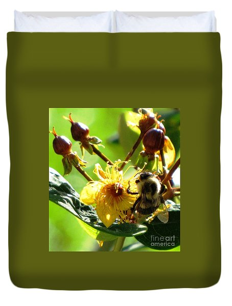 Duvet Cover featuring the photograph St. John's Wort by Melissa Stoudt