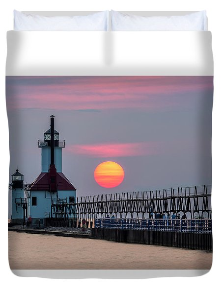 Duvet Cover featuring the photograph St. Joseph Lighthouse At Sunset by Adam Romanowicz