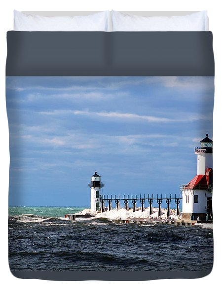 St. Joseph Lighthouse - Michigan Duvet Cover