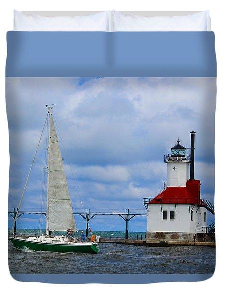St. Joseph Lighthouse Sailboat Duvet Cover