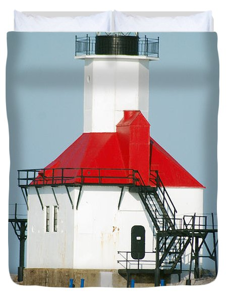 St Joseph North Pier Lights Duvet Cover by Michael Peychich