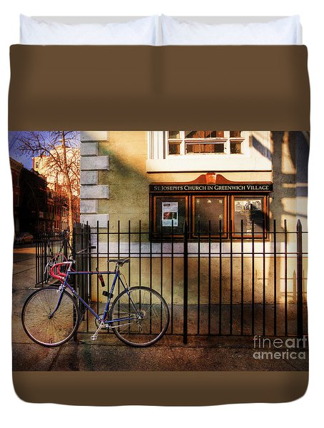 Duvet Cover featuring the photograph St. Joseph's Church Bicycle by Craig J Satterlee