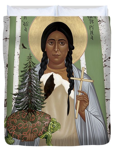 St. Kateri Tekakwitha Of The Iroquois - Rlktk Duvet Cover