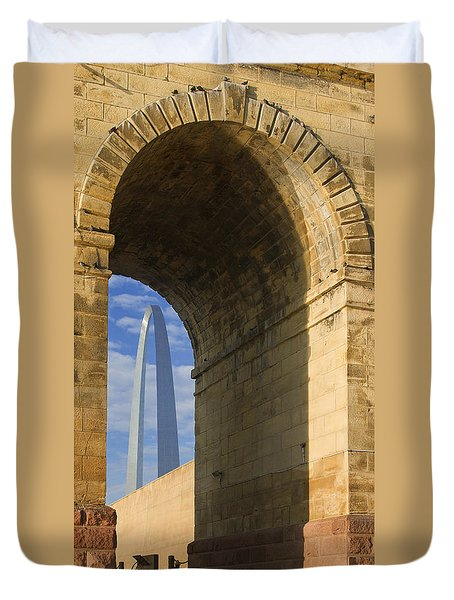 St Louis Arch And Eads Bridge   Duvet Cover