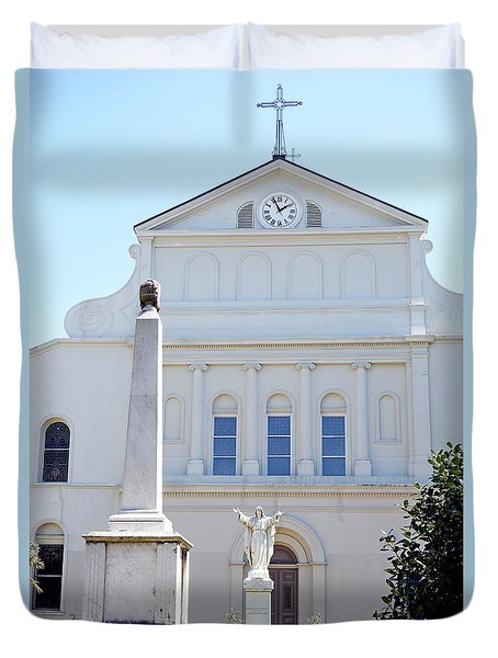 St. Louis Cathedral Back Lawn Duvet Cover