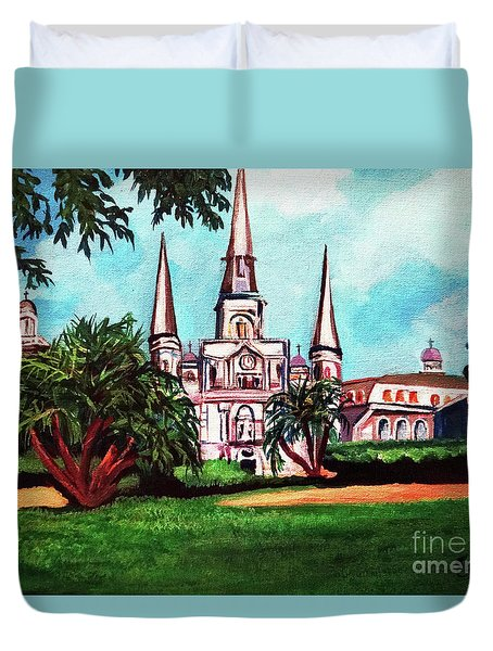 Duvet Cover featuring the painting St. Louis Catheral New Orleans Art by Ecinja Art Works