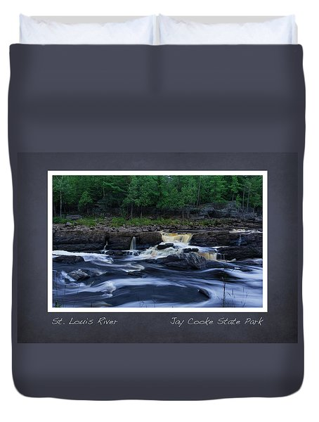 Duvet Cover featuring the photograph St Louis River Scrapbook Page 1 by Heidi Hermes