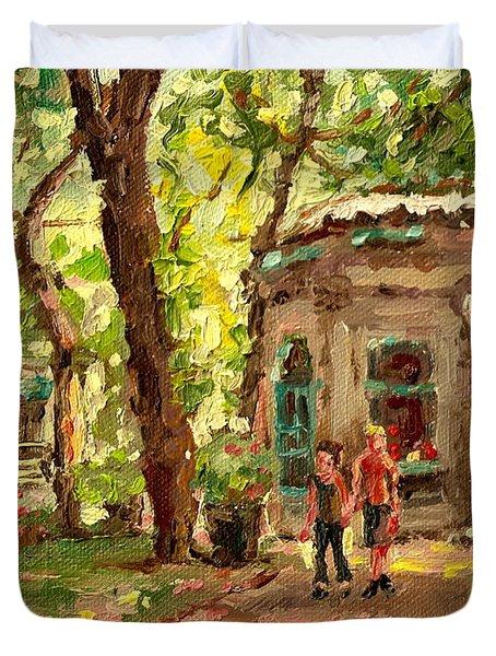 St Louis Square St Denis Street Duvet Cover by Carole Spandau