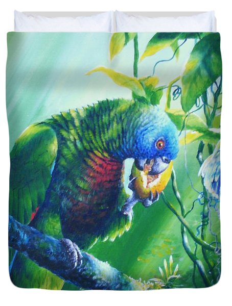 St. Lucia Parrot And Wild Passionfruit Duvet Cover by Christopher Cox