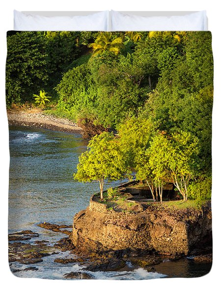 St Lucia - Trees On A Rocky Point Duvet Cover