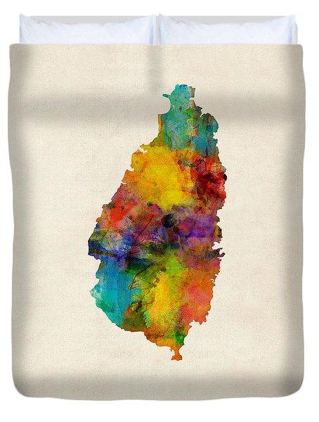St Lucia Watercolor Map Duvet Cover