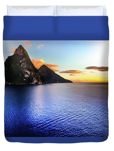 Duvet Cover featuring the photograph St. Lucia's Cobalt Blues by Karen Wiles