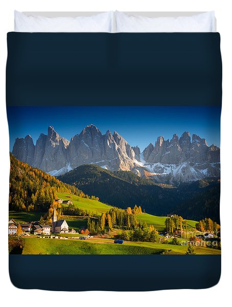 St. Magdalena Alpine Village In Autumn Duvet Cover