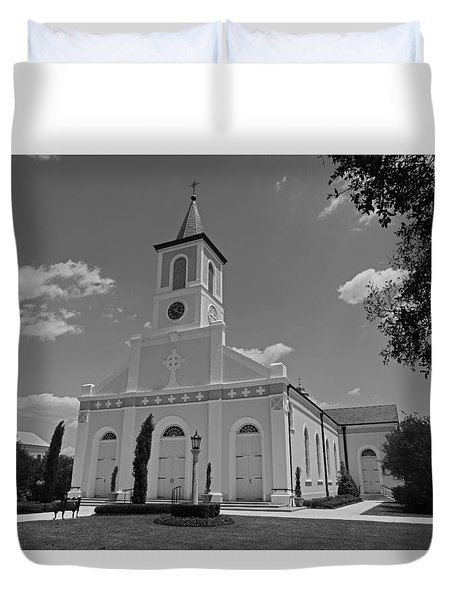 St. Martinville Church Duvet Cover by Ronald Olivier