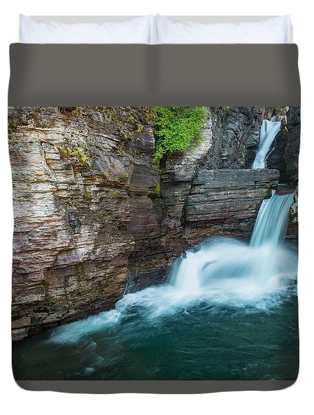 Duvet Cover featuring the photograph St. Mary Falls by Gary Lengyel