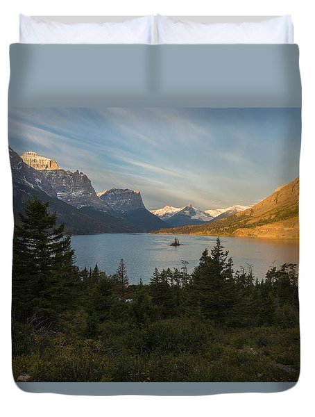 Duvet Cover featuring the photograph St. Mary Lake by Gary Lengyel