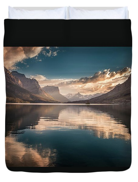St Mary Lake Sunset Duvet Cover
