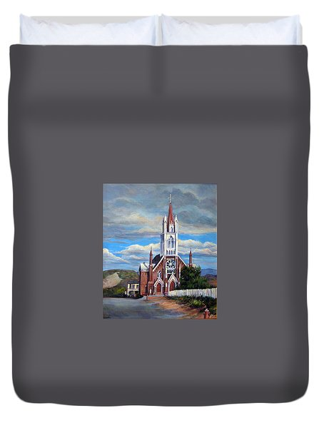 Duvet Cover featuring the painting St. Mary Of The Mountains by Donna Tucker