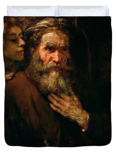 St Matthew And The Angel Duvet Cover by Rembrandt Harmensz van Rijn